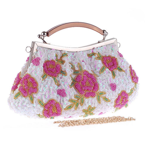 PMS white / one size Floral Bead Glitter Evening Clutch Bag