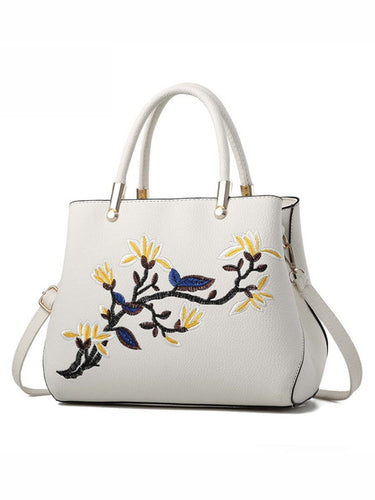 PMS white / one size Floral Embroidery Pu Shoulder Bag