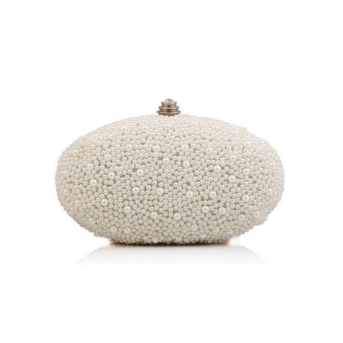 PMS white / one size Pearl Beading Elliptical Clutch Bag