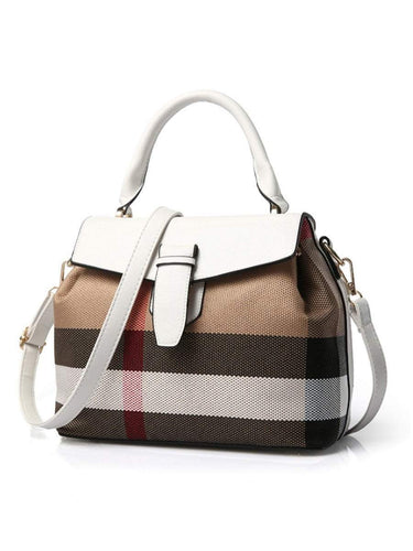 PMS white / one size Plaid Linen Patchwork Crossbody Bag