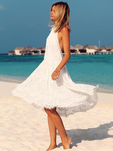 PMS white / s Lace Halterneck Backless Midi Vacation Dress