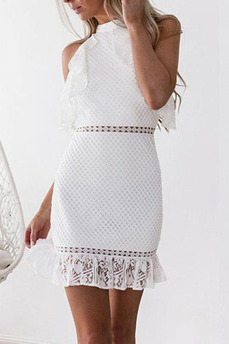 PMS white / s Sexy White Lace Bodycon Mini Dress