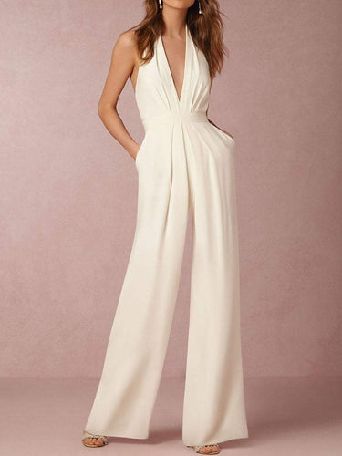 PMS white / xl Halter Pocket Plain Wide-Leg Jumpsuit