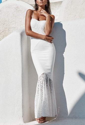 PMS white / xl Lace Retro Sexy Fishtail Evening Dress