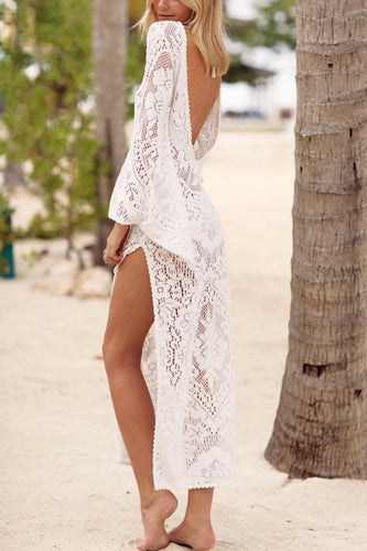 PMS white / xl V Collar Sexy Halter Split Lace Vacation Dress