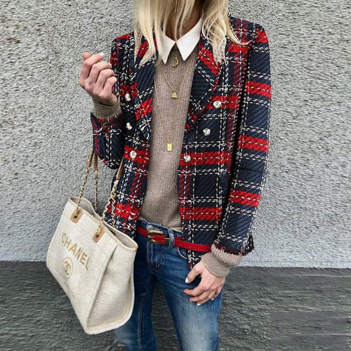 PMS Woman's Tops Same As Photo / S Warm Casual Loose Plaid Woolen Blazer
