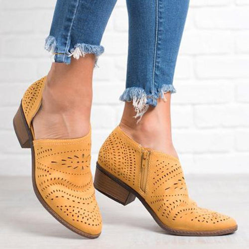 PMS Women's Shoes Yellow / 35 Hollow-Out Low Heel Cutout Booties Faux Suede Zipper Ankle Boots