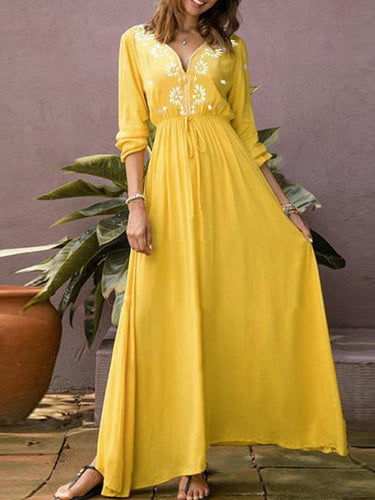 PMS yellow / s Casual V-Neck Long-Sleeved Printed Dress