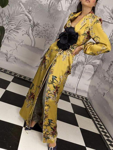 PMS yellow / s Retro Print Long-Sleeved Windbreaker Coat / Dress