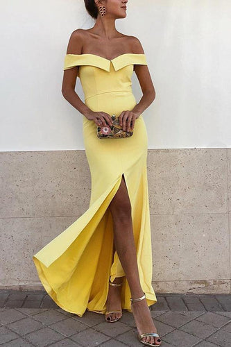 PMS yellow / xl Sexy Yellow Off Shoulder Short Sleeves Bodycon Dress