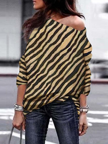 PMS zebra / s Off-Shoulder Zebra Printed  T-Shirt