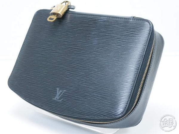 AUTHENTIC PRE-OWNED LOUIS VUITTON EPI BLACK POCHE MONTE-CARLO JEWELRY CASE BOX M48362 152083