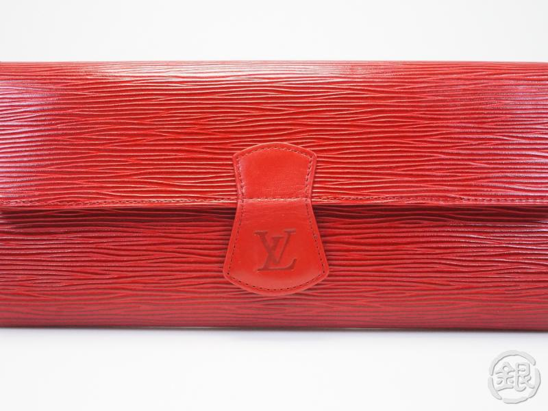 AUTHENTIC PRE-OWNED LOUIS VUITTON EPI ROUGE CASTILLAN ROULEAU BIJOUX ROLL JEWELRY CASE M48357 152706