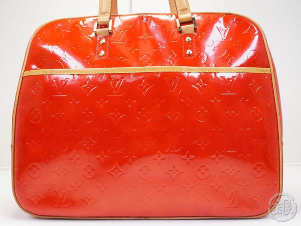 AUTHENTIC PRE-OWNED LOUIS VUITTON LV VERNIS RED ROUGE SUTTON LARGE SHOULDER TOTE BAG M91080 121151