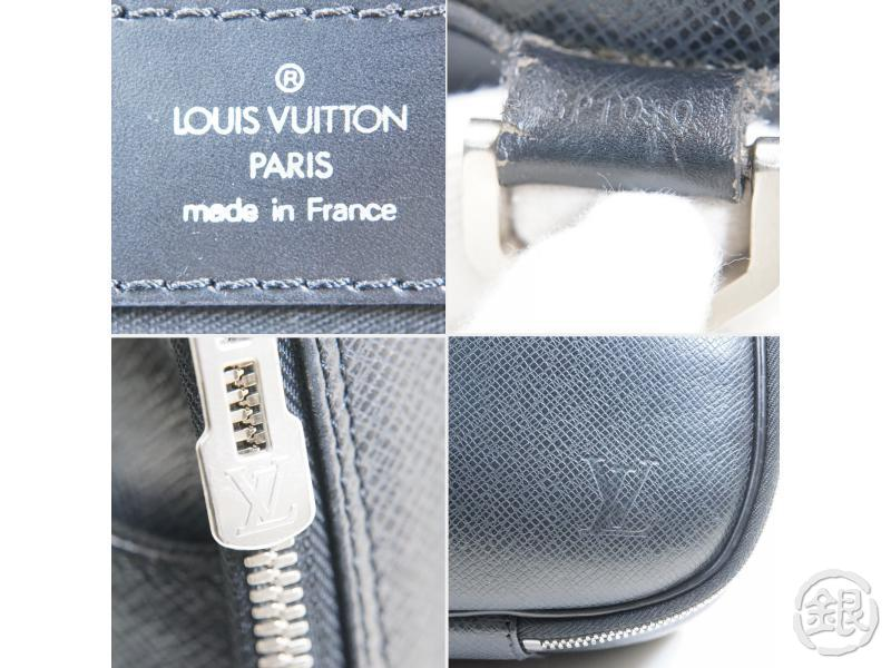 AUTH PRE-OWNED LOUIS VUITTON TAIGA ARDOISE BLACK PORTE ORDINATEUR TURA M30762 2Way BAG M30762 140899