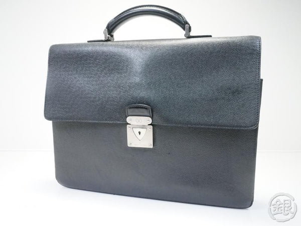 AUTHENTIC PRE-OWNED LOUIS VUITTON TAIGA ARDOISE BLACK SERVIETTE ROBUSTO1 BRIEFCASE BAG M31052 141314