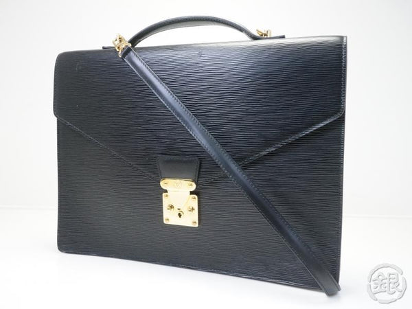 AUTHENTIC PRE-OWNED LOUIS VUITTON EPI BLACK PORTE-DOCUMENTS BANDOULIERE BRIEFCASE BAG M54462 141566