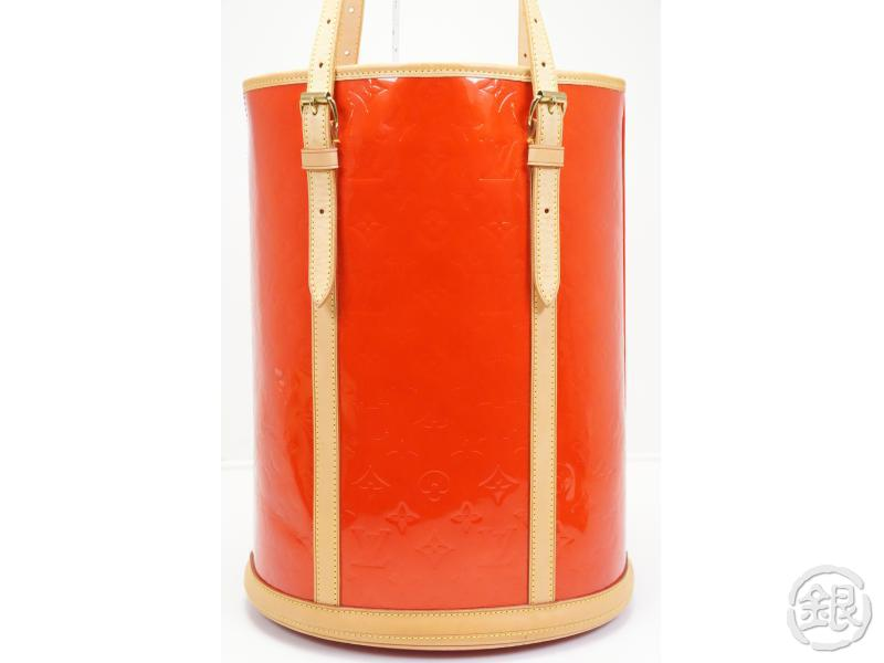 AUTHENTIC PRE-OWNED LOUIS VUITTON VERNIS SPECIAL ORDERED ROUGE BUCKET GM SHOULDER TOTE BAG 170672