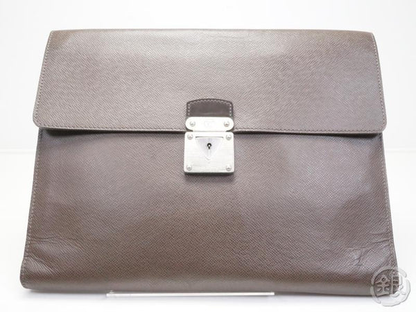 AUTHENTIC PRE-OWNED LOUIS VUITTON TAIGA GRIZZLY BROWN PORTE-DOCUMENTS MINUTO BRIEFCASE M31068 170477