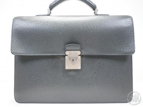 AUTHENTIC PRE-OWNED LOUIS VUITTON TAIGA ARDOISE BLACK SERVIETTE LAGUITO BRIEFCASE BAG M31092 170851