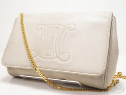 AUTHENTIC PRE-OWNED CELINE LOGO BAG LEATHER GOLD CHAIN CROSSBODY BAG CLUTCH 2-WAY ITALY M08 171020