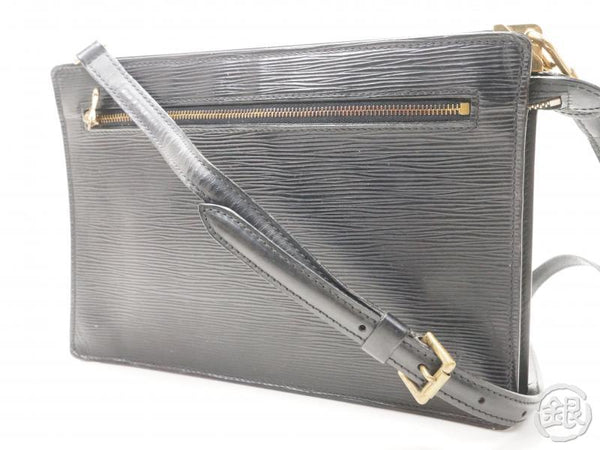 AUTHENTIC PRE-OWNED LOUIS VUITTON EPI BLACK ENGHIEN COMPARTMENT CLUTCH BAG Strap 2-WAY M52112 171945