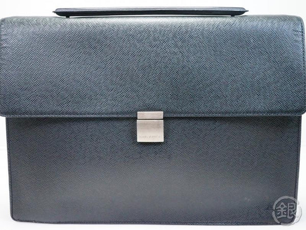 AUTHENTIC PRE-OWNED LOUIS VUITTON TAIGA ARDOISE BLACK PORTE-DOCUMENTS ANGARA BRIEFCASE M30772 180357