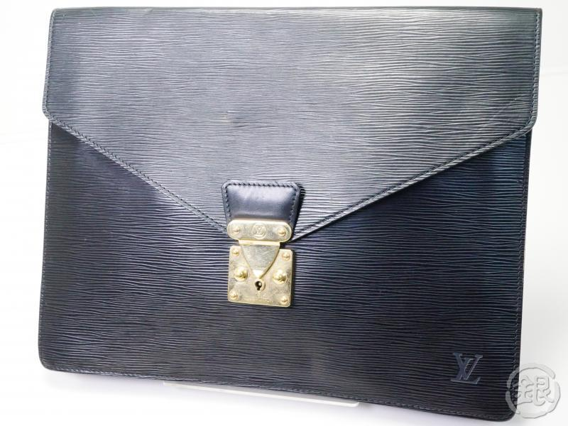 AUTHENTIC PRE-OWNED LOUIS VUITTON EPI BLACK PORTE-DOCUMENTS SENATEUR DOCUMENT CLUTCH M54452 180751
