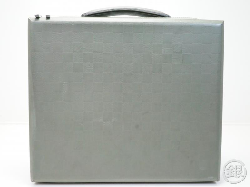AUTHENTIC PRE-OWNED LOUIS VUITTON LV DAMIER GLACE GRAY LUKE ATTACHE CASE LAPTOP CASE BRIEF CASE HAND BAG M92154