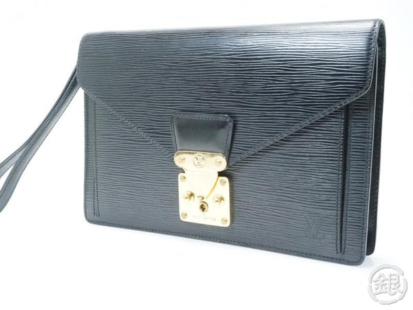 AUTHENTIC PRE-OWNED LOUIS VUITTON EPI BLACK NOIR POCHETTE SELLIER DRAGONNE CLUTCH BAG M52612 143270