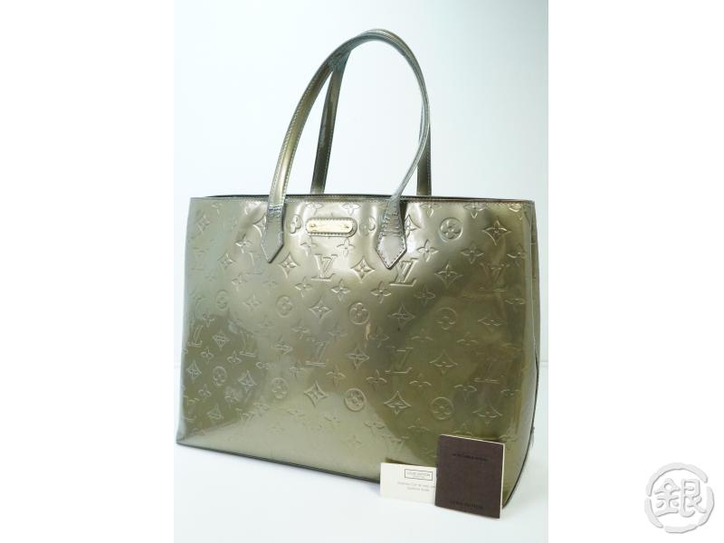 AUTHENTIC PRE-OWNED LOUIS VUITTON VERNIS GRIS ART DECO WILSHIRE BOULEVARD MM TOTE BAG M91648 182027