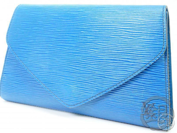AUTH PRE-OWNED LOUIS VUITTON EPI BLUE POCHETTE ARTS-DECO PM CLUTCH BAG M52645 182332