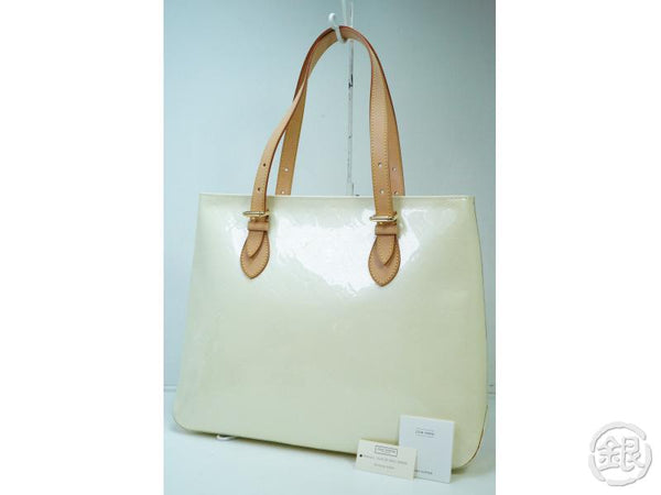 AUTHENTIC PRE-OWNED LOUIS VUITTON VERNIS PERLE BRENTWOOD SHOULDER TOTE BAG M91512 182367
