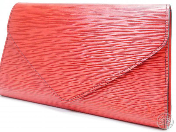 AUTHENTIC PRE-OWNED LOUIS VUITTON EPI ROUGE POCHETTE ARTS-DECO GM EVENING CLUTCH BAG M52637 190194