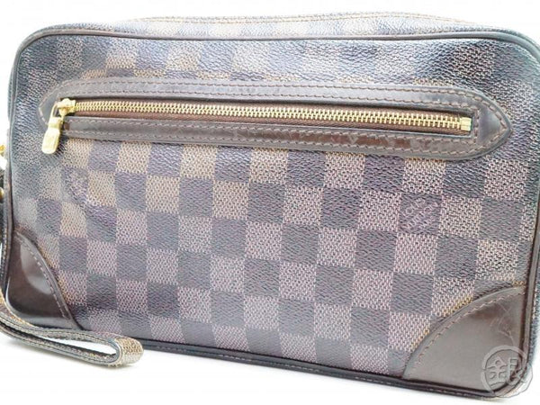 AUTHENTIC PRE-OWNED LOUIS VUITTON SPECIAL ORDERED DAMIER POCHETTE MARLY DRAGONNE GM CLUTCH 190246