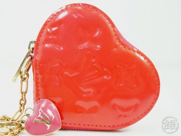 AUTHENTIC PRE-OWNED LOUIS VUITTON VERNIS ROSE POP PORTE-MONNAIE COEUR COIN CASE PURSE M93657 190159