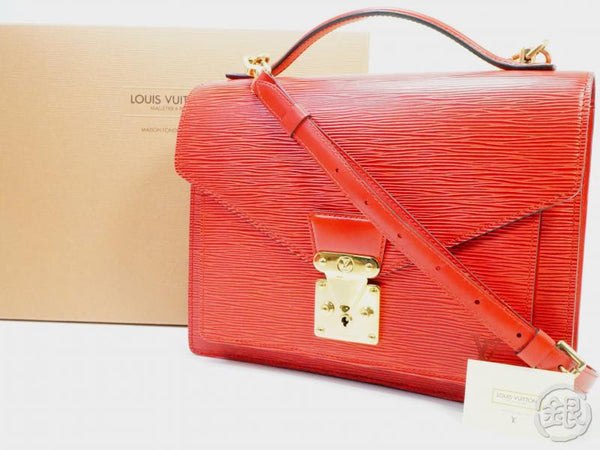 AUTHENTIC PRE-OWNED LOUIS VUITTON EPI RED MONCEAU 2-WAY MESSENGER SATCHEL HAND BAG M52127 142138