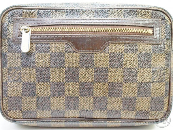 AUTHENTIC PRE-OWNED LOUIS VUITTON DAMIER EBENE POCHETTE BILLETS MACAO CLUTCH BAG POUCH N61739 190380