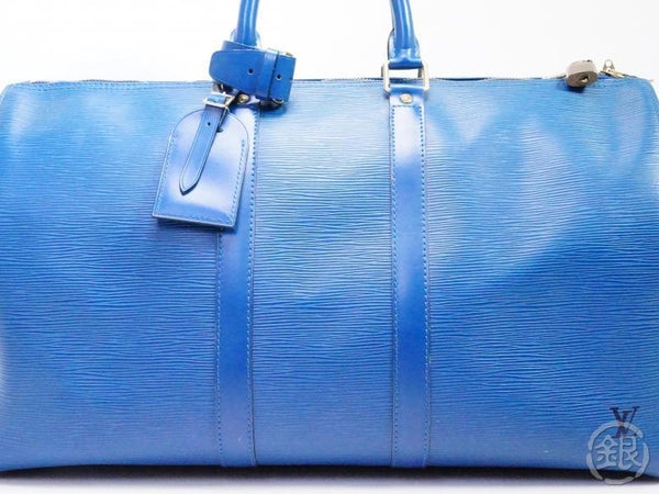 AUTHENTIC PRE-OWNED LOUIS VUITTON EPI TOLEDO BLUE KEEPALL 45 TRAVEL DUFFLE BAG M42975 190919