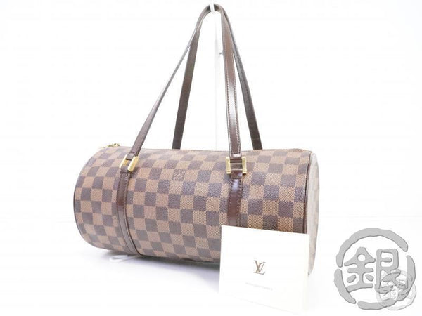 AUTHENTIC PRE-OWNED LOUIS VUITTON LV DAMIER EBENE PAPILLON 30 BARREL BAG TUBE-SHAPED N51303 191075