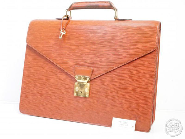 AUTHENTIC PRE-OWNED LOUIS VUITTON EPI KENYAN BROWN AMBASSADEUR BUSINESS BRIEFCASE BAG M54418 190887