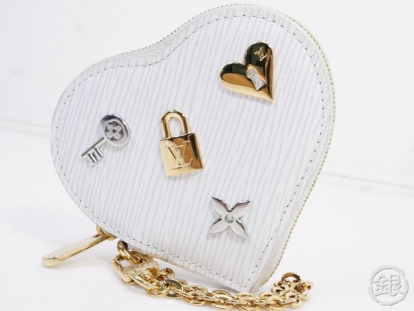 AUTHENTIC PRE-OWNED LOUIS VUITTON LIMITED LOVE LOCK EPI BLANC PORTE-MONNAIE COEUR COIN M63996 191111