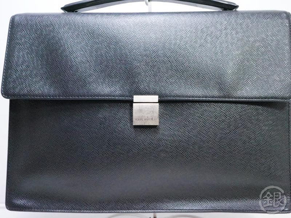 AUTHENTIC PRE-OWNED LOUIS VUITTON TAIGA ARDOISE BLACK PORTE-DOCUMENTS ANGARA BRIEFCASE M30772 190436