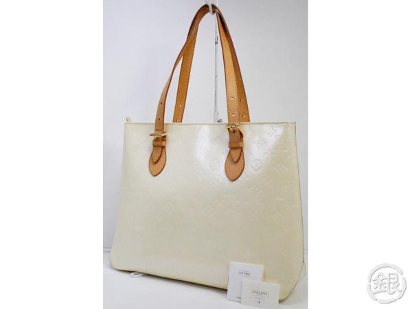 AUTHENTIC PRE-OWNED LOUIS VUITTON VERNIS PERLE BRENTWOOD SHOULDER TOTE BAG M91512 190794