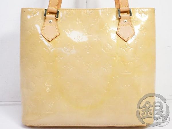 authentic pre-owned louis vuitton vernis beige houston hand tote bag m91004 191211