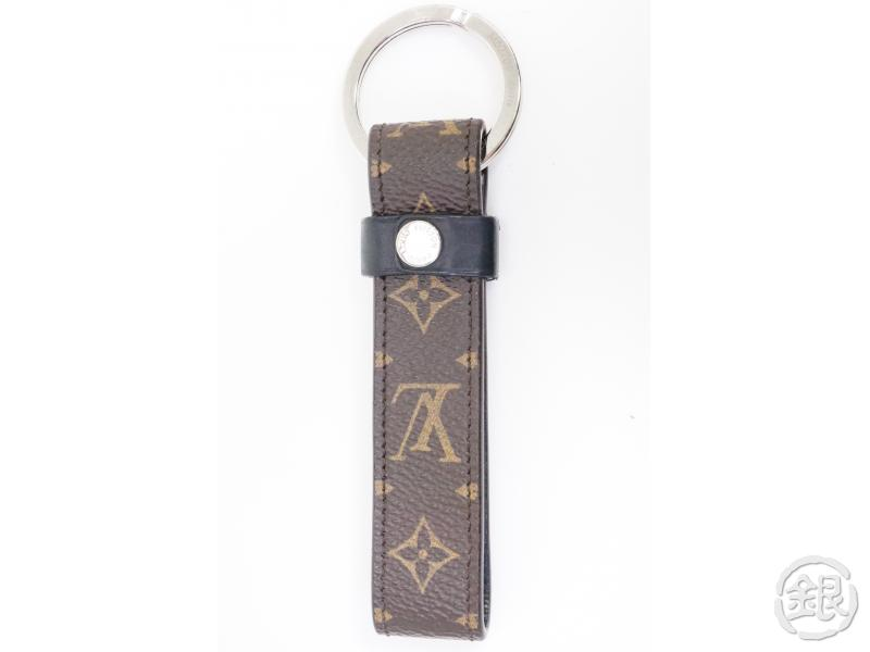 authentic pre-owned louis vuitton monogram macassar lv dragonne key ring metal logo m62709 191114