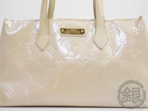 authentic pre-owned louis vuitton vernis blanc corail wilshire boulevard pm hand bag m91452 191320
