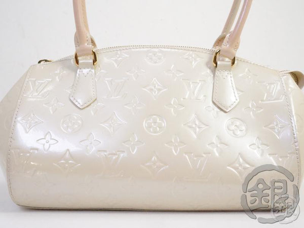 AUTHENTIC PRE-OWNED LOUIS VUITTON LV VERNIS BLANC CORAIL SHERWOOD PM SHOULDER HAND BAG M91491 191666