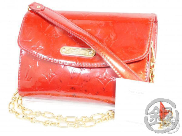 AUTHENTIC PRE-OWNED LOUIS VUITTON VERNIS POMME D'AMOUR BEL AIR CHAIN CROSSBODY WALLET M93614 191679