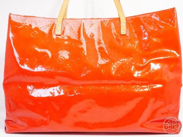authentic pre-owned louis vuitton vernis rouge reade gm big shoulder tote bag m91084 181922